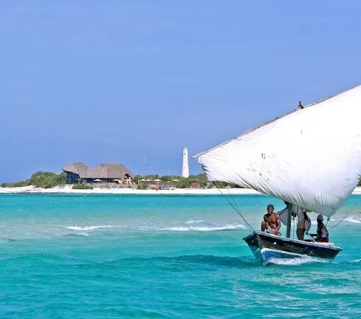 medjumbe dhow with island